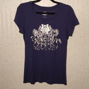 Juicy Couture purple tee silver coat of arms